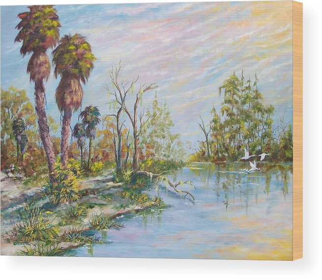 Landscape Wood Print featuring the painting Florida Forgotten by Dennis Vebert
