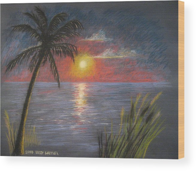 Sunset Wood Print featuring the pastel Florida Sunset by Larry Whitler