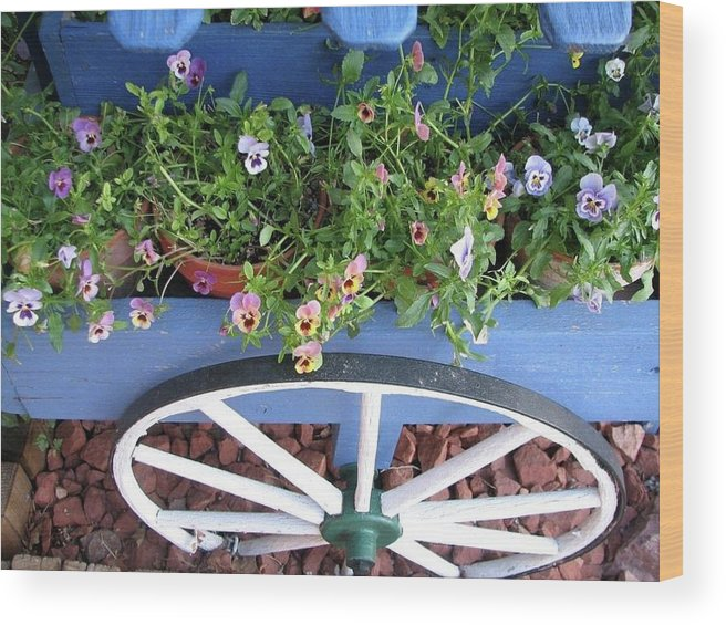 Flowers Wood Print featuring the photograph Flower Cart by Mary Ivy