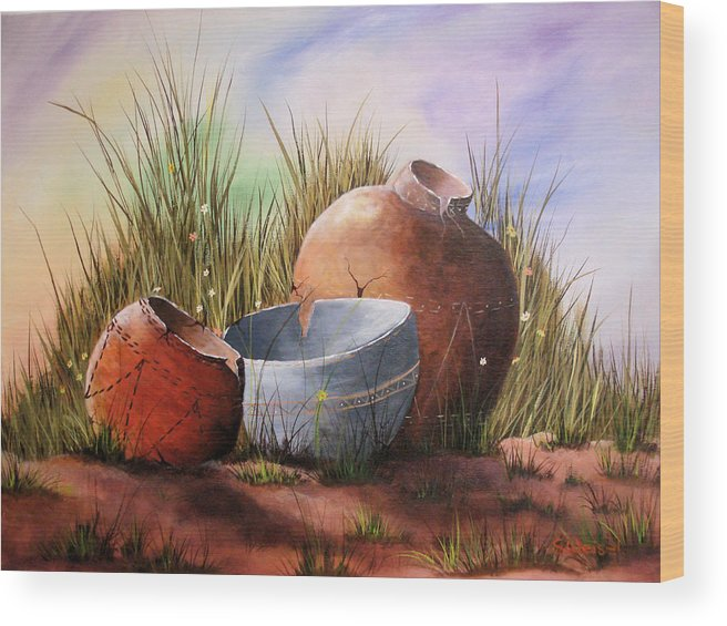 Still Life Landscape Clay Pot Broke Desert Exotic Flower Floral Sand Mexico Grass Purple Blue Green Wood Print featuring the painting Flower Pots by Sherry Winkler