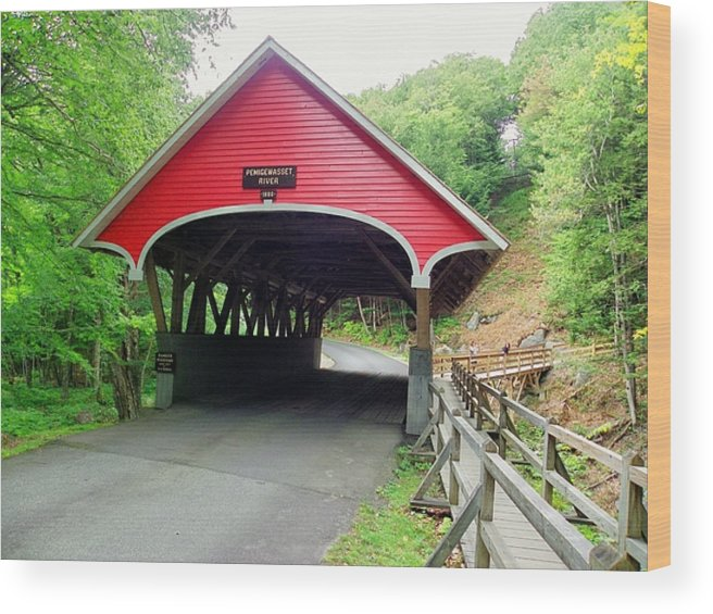 Nh Wood Print featuring the photograph Flume Covered Bridge by Wayne Toutaint