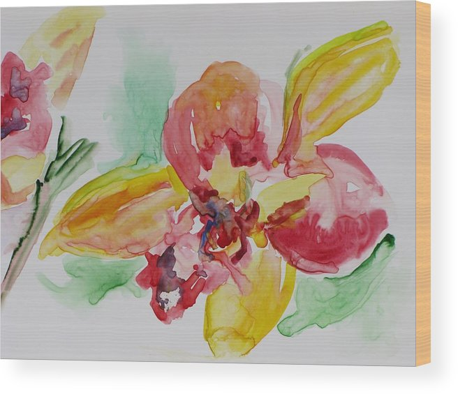 Floral Wood Print featuring the painting Flying Colors by Kathy Mitchell