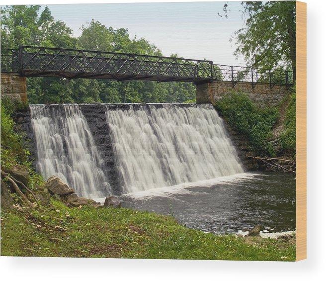 Waterfalls Wood Print featuring the photograph Footbridge Falls by Andrew Kazmierski