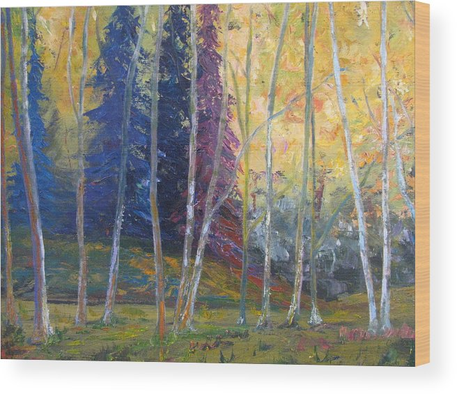 Impressionist Landscape Wood Print featuring the painting Forest At Twilight by Belinda Consten