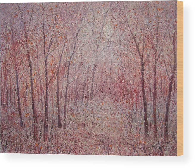 Landscape Wood Print featuring the painting Forest Stillness. by Leonard Holland