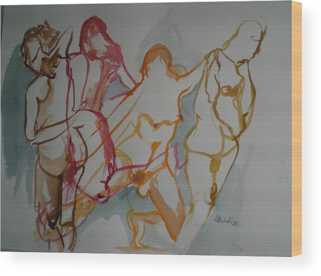Female Nudes Wood Print featuring the painting Four Female Figures by Aleksandra Buha