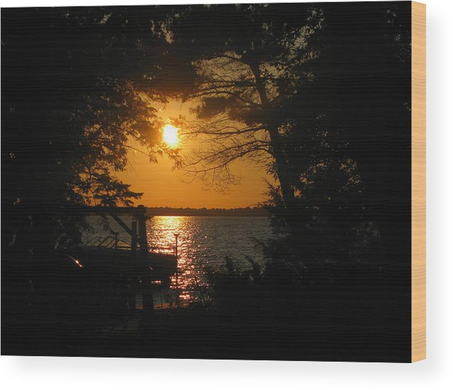 Sunset Wood Print featuring the photograph Framed Sunset by Joni Moseng