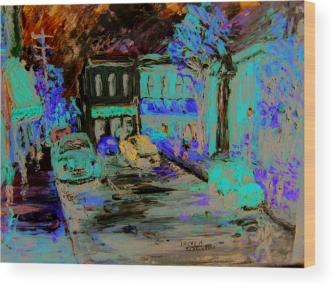 Impressionist Wood Print featuring the painting French Storefronts by Irene Schilling