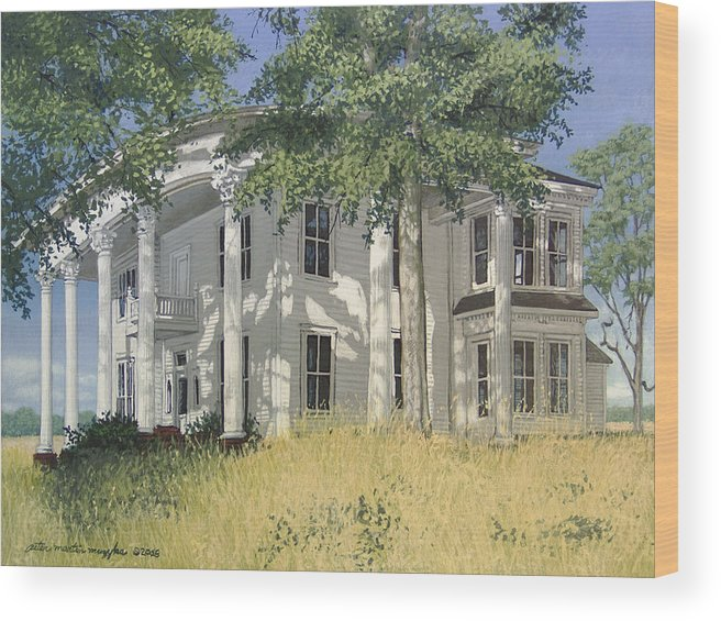 Landscape Wood Print featuring the painting From A By-gone Era by Peter Muzyka