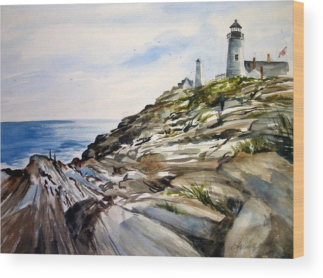 Pemaquid Light House;rocks;ocean;maine;pemaquid;light;lighthouse; Wood Print featuring the painting From The Rocks Below by Lois Mountz