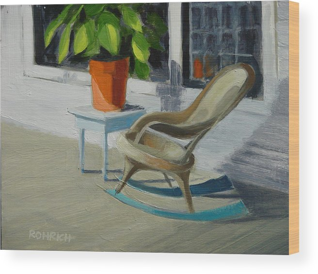 Wicker Wood Print featuring the painting Front Porch Memories by Robert Rohrich