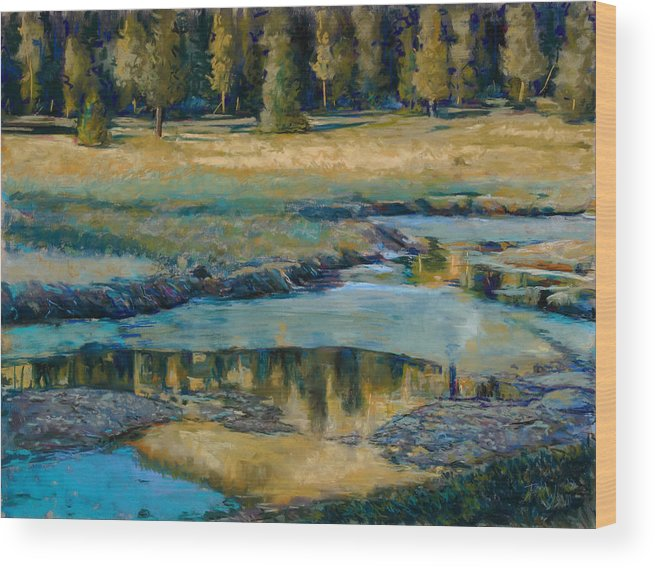 River Wood Print featuring the painting Frozen Reflections by Billie Colson