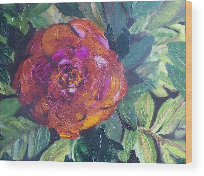 Flower Wood Print featuring the painting Full Bloom by Pamela Wilson