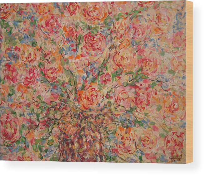Flowers Wood Print featuring the painting Full Bouquet. by Leonard Holland