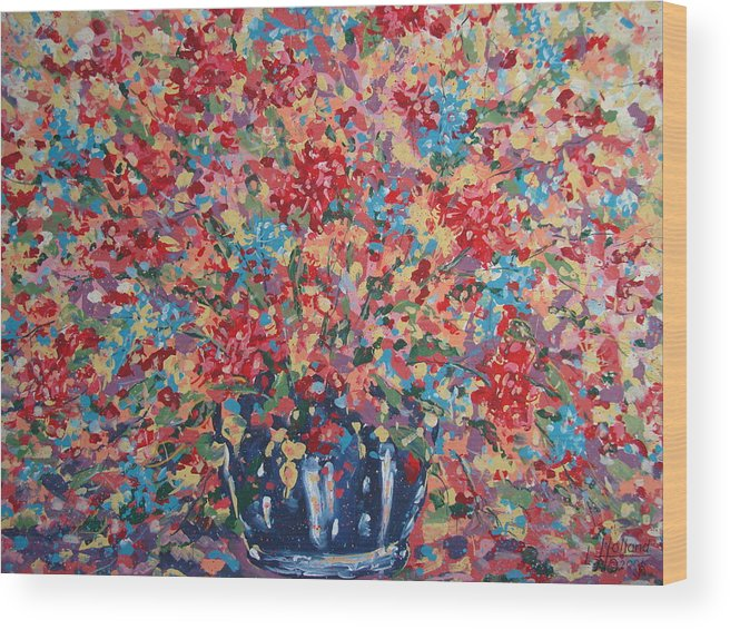 Flowers Wood Print featuring the painting Full Flower Bouquet. by Leonard Holland