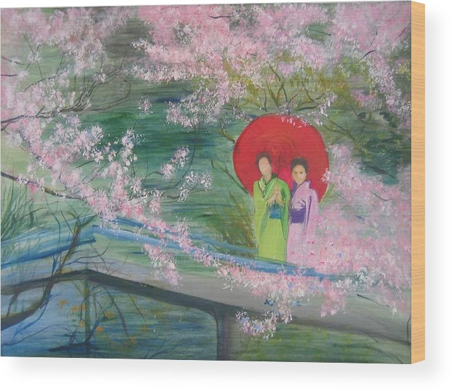 Landscape Wood Print featuring the painting Geishas And Cherry Blossom by Lizzy Forrester