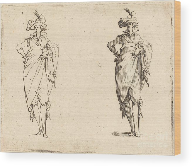 Wood Print featuring the photograph Gentleman Viewed From The Front With Hand On Hip by Jacques Callot