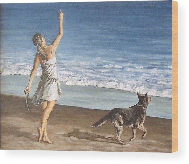 Portrait Girl Beach Dog Seascape Sea Children Figure Figurative Wood Print featuring the painting Girl And Dog by Natalia Tejera