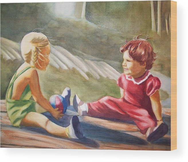 Girls Wood Print featuring the painting Girls Playing Ball by Marilyn Jacobson
