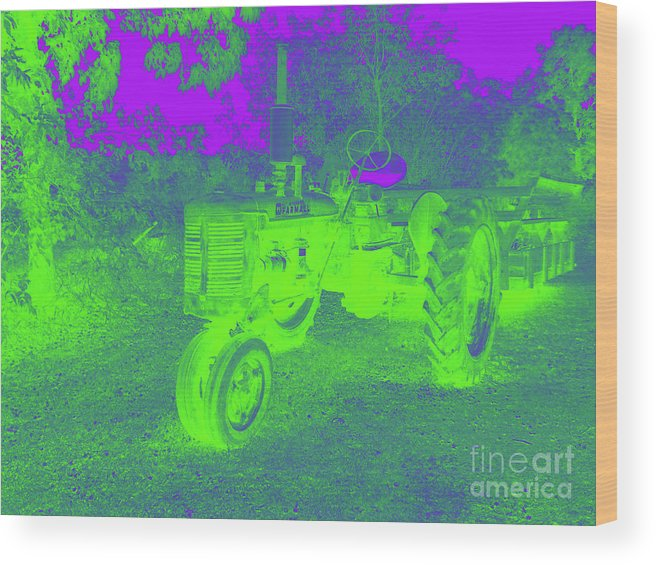 Tractor Wood Print featuring the digital art Glow Of The Day by John Bichler