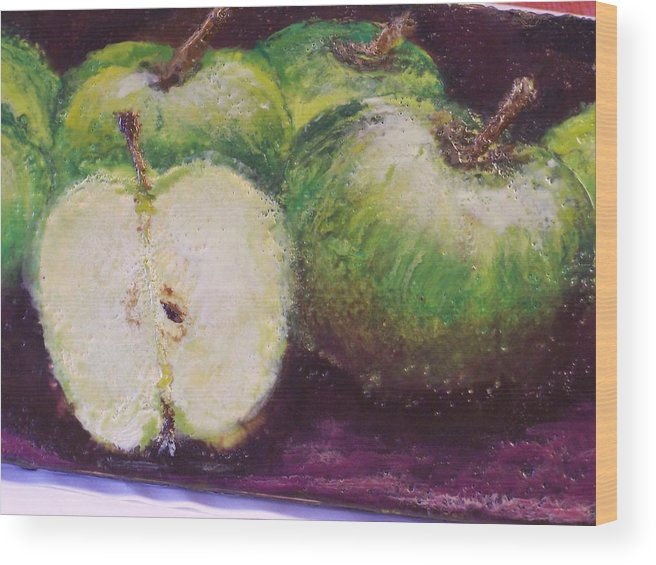 Still Life Wood Print featuring the painting Gods Little Green Apples by Karla Phlypo-Price