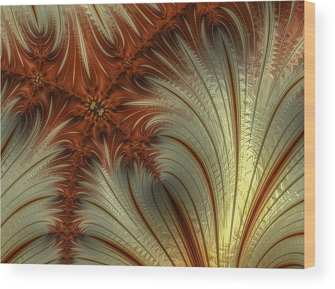 Fractal Wood Print featuring the photograph Gold And Burnt Orange Fractal by Constance Sanders