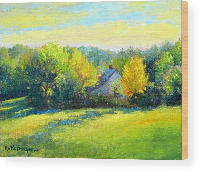 Landscape Wood Print featuring the painting Golden Evening by Keith Burgess