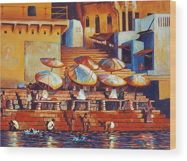 Realist Wood Print featuring the painting Golden Ganges by Art Nomad Sandra Hansen
