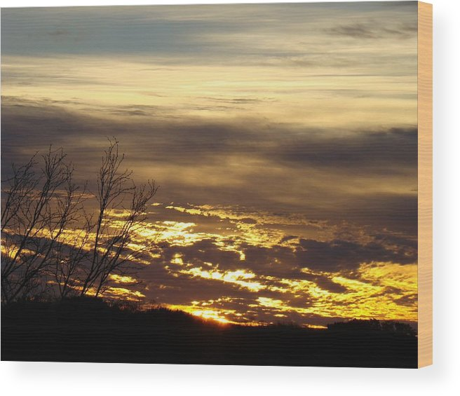 Sunrise Wood Print featuring the photograph Golden Sunrise One by Ana Villaronga