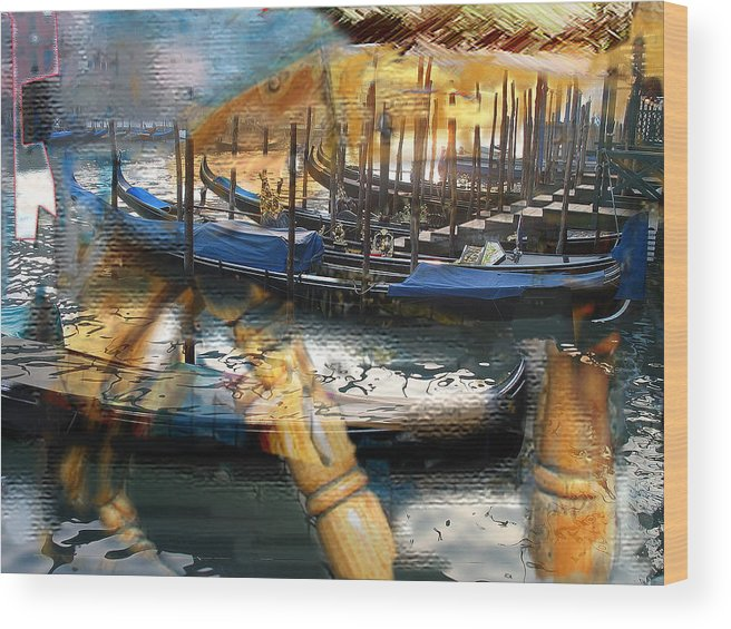 Italy Wood Print featuring the digital art Gondolas Gondalas And More Gondalas by Xavier Carter