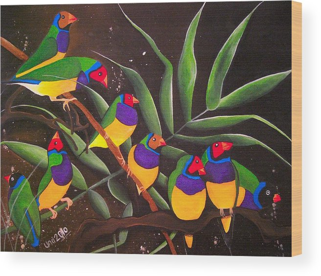 Gouldian Finch Wood Print featuring the painting Gouldian Finch Rainbow by Una Miller