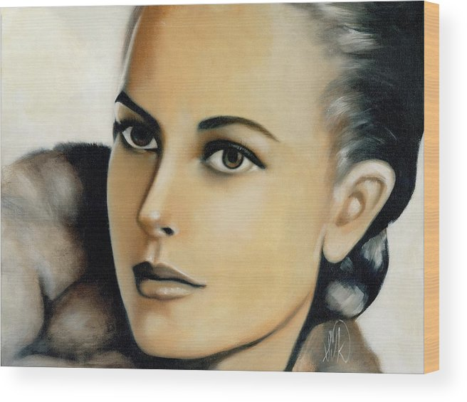 Portrait Wood Print featuring the painting Grace Kelly by Elizabeth Silk
