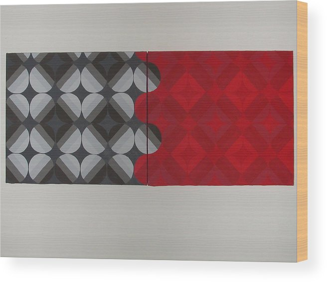 Red Circles Wood Print featuring the painting Gray's Red Anatomy by Gay Dallek