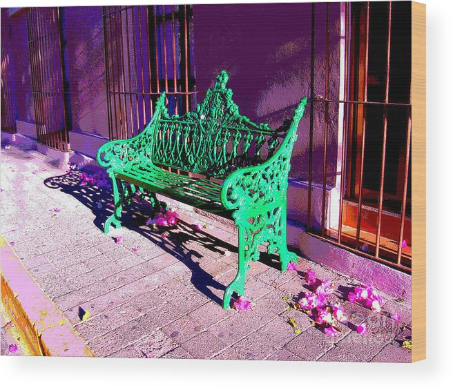 Michael Fitzpatrick Wood Print featuring the photograph Green Bench By Michael Fitzpatrick by Mexicolors Art Photography