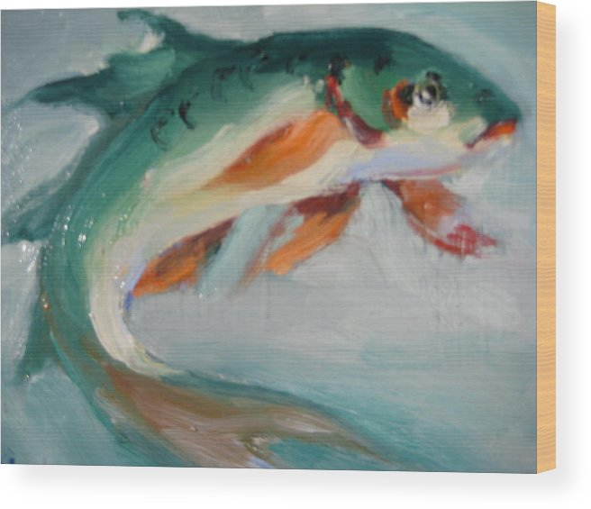 Fish Wood Print featuring the painting Green Fish by Susan Jenkins