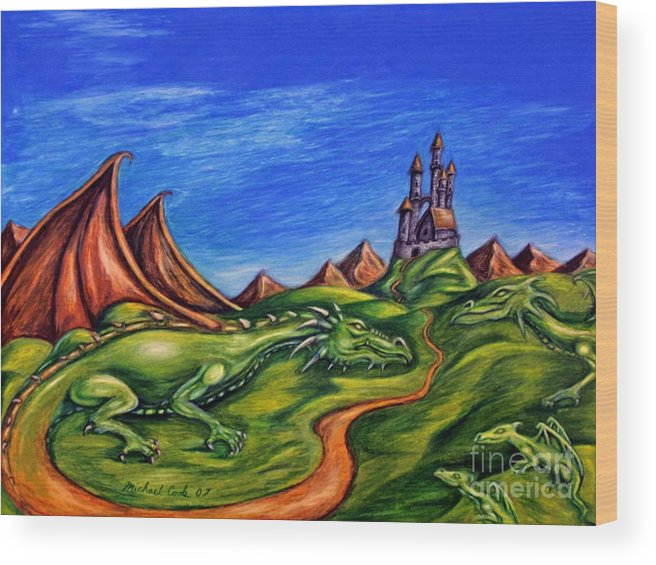 Dragons Surreal Fantasy Wood Print featuring the drawing Family by Michael Cook