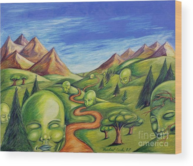 Green Surreal Landscapes Wood Print featuring the drawing The Journey by Michael Cook