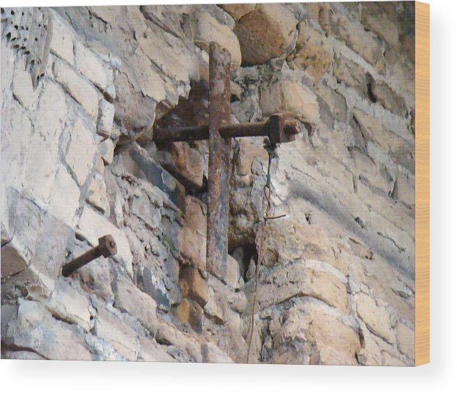 Cross Wood Print featuring the photograph Gristmill Cross One by Ana Villaronga