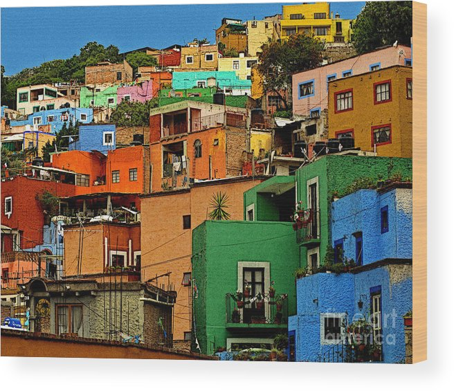 Darian Day Wood Print featuring the photograph Guanajuato Hillside 1 by Mexicolors Art Photography
