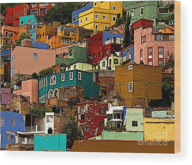 Darian Day Wood Print featuring the photograph Guanajuato Hillside 4 by Mexicolors Art Photography