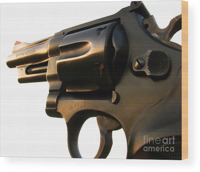 Gun Wood Print featuring the photograph Gun Series by Amanda Barcon