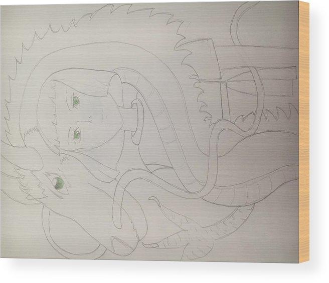 Haku Wood Print featuring the drawing Haku The Dragon by Aliyah Pimentel