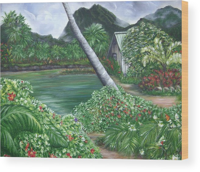 Tropical Gardenscape Wood Print featuring the painting Hanalei Kanaka House by Laura Johnson