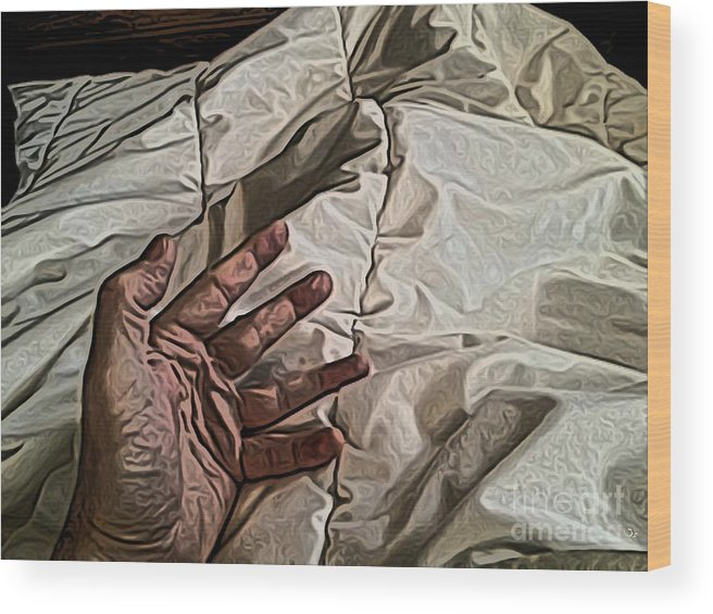Hand Wood Print featuring the digital art Hand On Comforter by Ron Bissett