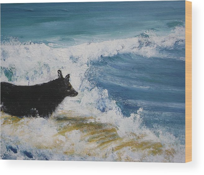 Surfing Wood Print featuring the painting Hang What Where. by Laura Johnson