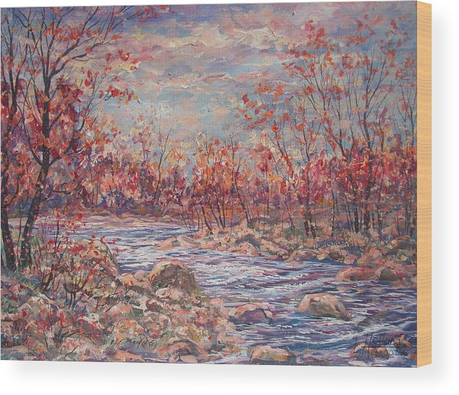 Landscape Wood Print featuring the painting Happy Autumn Days. by Leonard Holland