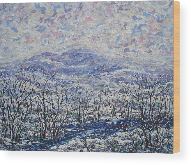 Landscape Wood Print featuring the painting Happy Winter. by Leonard Holland