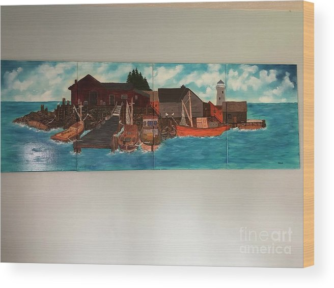 Wood Print featuring the painting Harbor Morning by Mike Wood