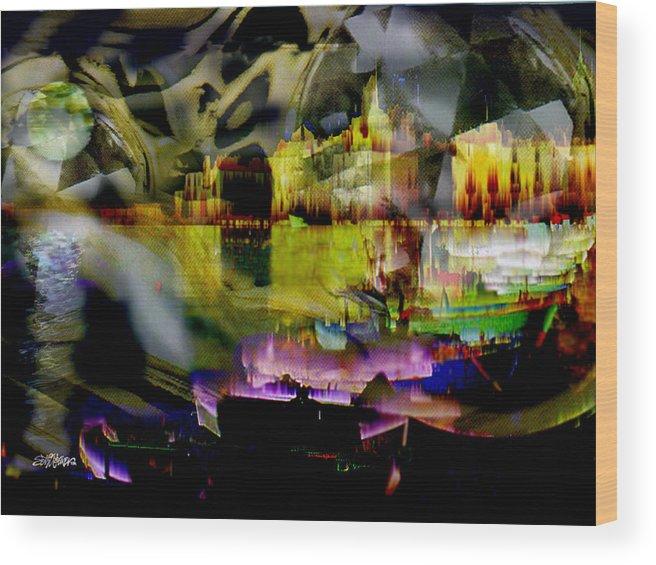 European Wood Print featuring the digital art Harbor Scene Through A Vodka Bottle by Seth Weaver