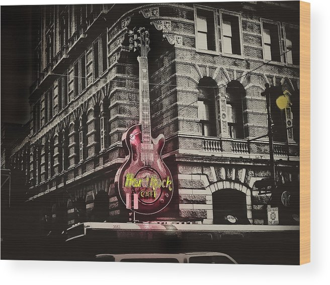 Philadelphia Wood Print featuring the photograph Hard Rock Philly by Bill Cannon